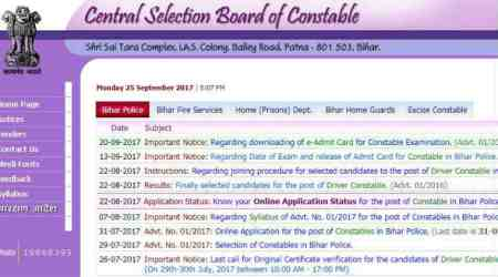 CSBC releases Bihar police constable exam 2017, download at csbc.bih.nic.in