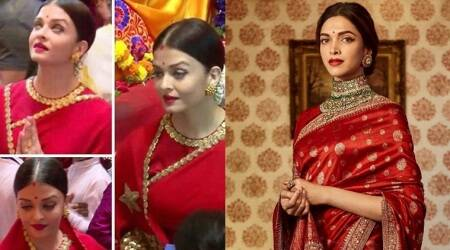 Aishwarya Rai Bachchan and Deepika Padukone go regal in red Sabyasachi saris, but who pulled it off better?