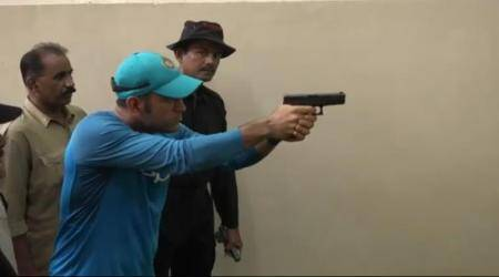 MS Dhoni practices shooting at Kolkata Police Training School, watch video