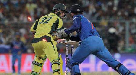 MS Dhoni's rare celebration after stumping Glenn Maxwell, watch video