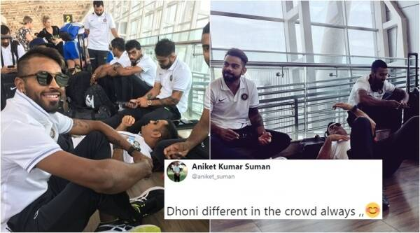 ms dhoni, ms dhoni ind vs aus, ms dhoni latest photos, ms dhoni sleeps, ms dhoni sleeps on field, ms dhoni sleeps at airport, indian express, indian express news