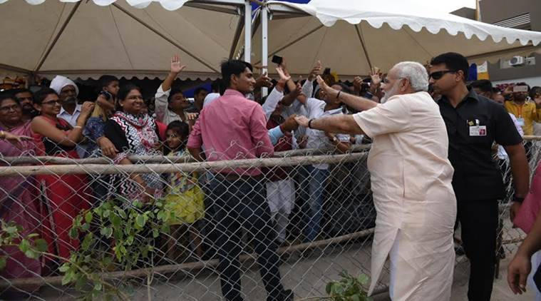 Narendra Modi, Narendra Modi birthday, Narendra Modi Gujarat visit, Modi birthday, Narendra Modi blue revolution, india news, Indian Express