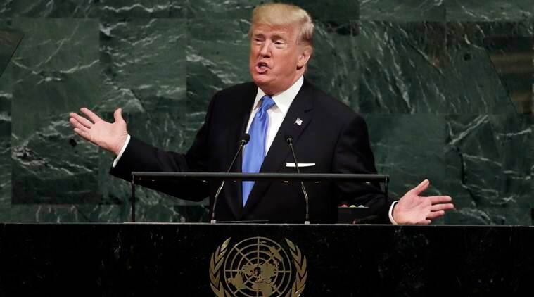 donald trump, us president donald trump, donald trump un speech, Jane Goodall, indian express news