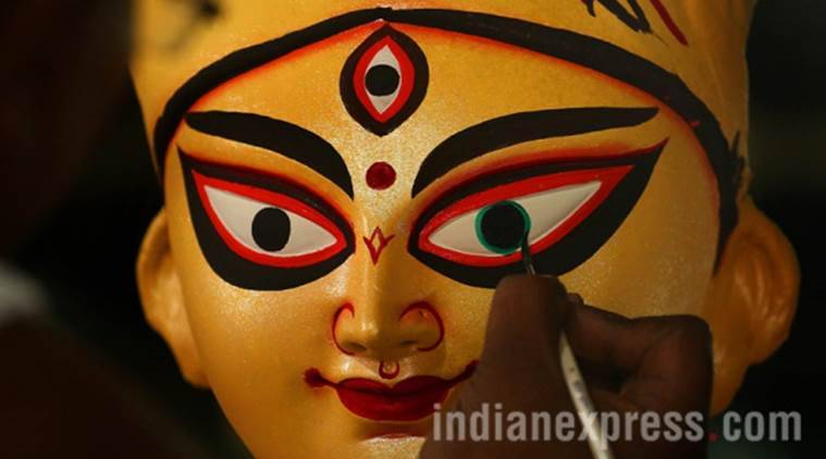durga puja, durga idol, durga puja idol, durga idol mahogany wood, kolkata, west bengal, indian express news