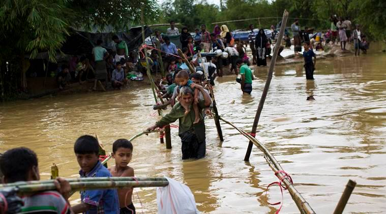 rohingya muslim fleeing, rohingya muslim fleeing number exaggerated, rohingya muslim number, rohingya muslim army chief, indian express news