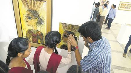 Visually-challenged kids touch, smell paintings at art exhibition in Chandigarh