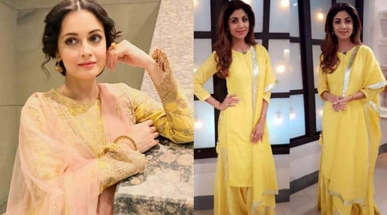 shilpa shetty, dia mirza, yellow colour fashion, dia mirza shilpa shetty yellow fashion, dia mirza photos, shilpa shetty photos, indian express, indian express news