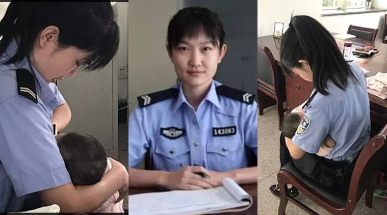Lina Hao, Chinese police officer breastfeeding, police officer breastfeeding, police officer feeding baby, courtroom feeding, indian express, indian express news