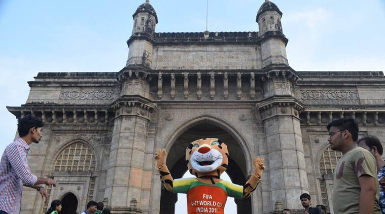 u-17 world cup, fifa u-17 world cup, u-17 world cup trophy experience, gateway of india, u-17 trophy, football, sports news, indian express