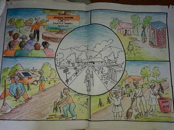 Swachh Bharat, Swachh Bharat painting contest, Swachh Bharat anniversary, Swachh Sankalp Swachh Siddhi painting competition, cleanliness campaign, east kameng, Chhattisgarh Kanker district, indian express
