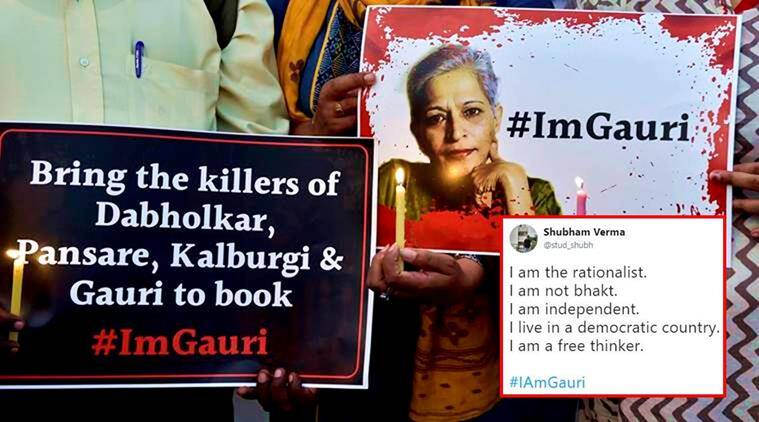 i am gauri, gauri lankesh, gauri lankesh murder, gauri lankesh death, gauri lankesh shot dead, gauri lankesh twitter reactions, gauri lankesh tweets, i am gauri tweets, indian express, indian express news