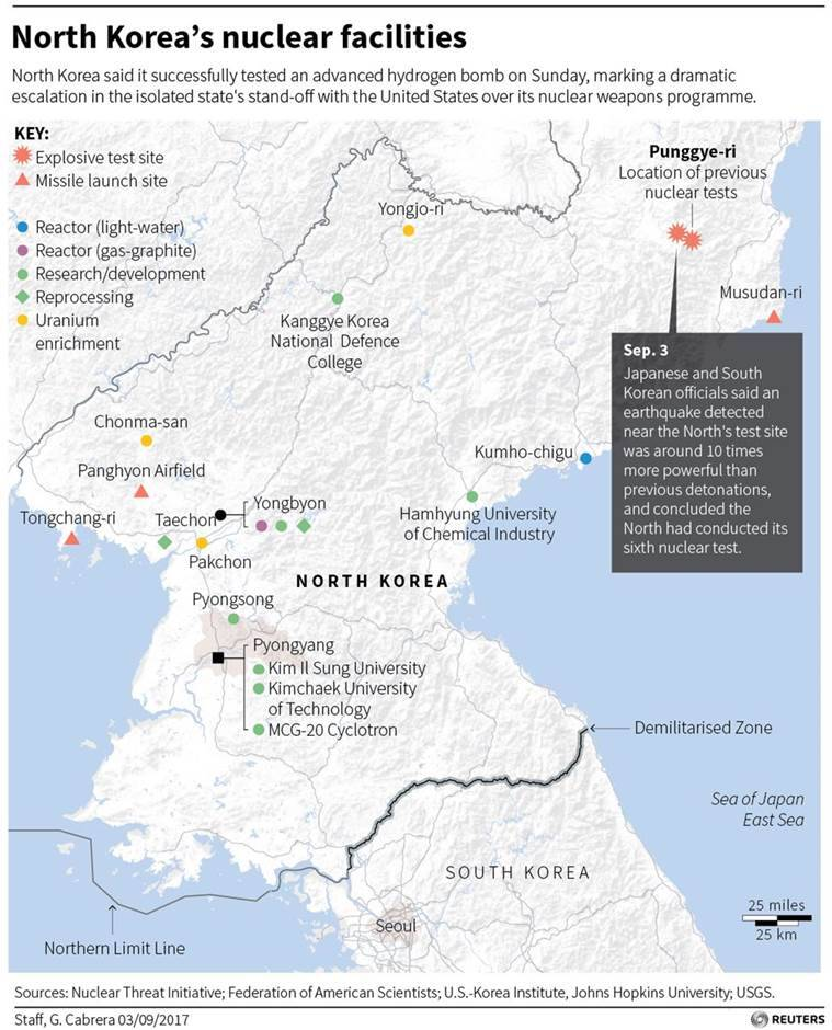 India condemns north koreas biggest ever nuclear test heres how map locating north koreas nuclear facilities and the site of a nuclear test on sept 3 source reuters gumiabroncs Choice Image