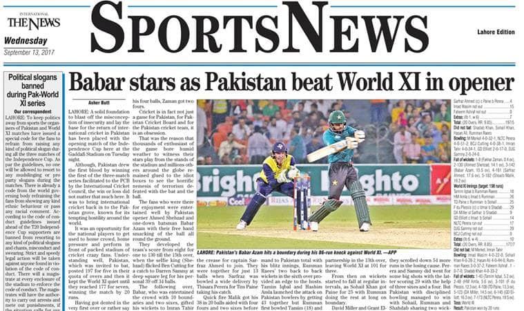Pakistani media hails return of international cricket ...
