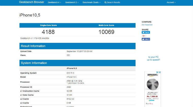 iPhone X, Apple iPhone X, iPhone 8, iPhone X A11 Bionic chip, iPhone X performance scores, iPhone X Geekbench scores