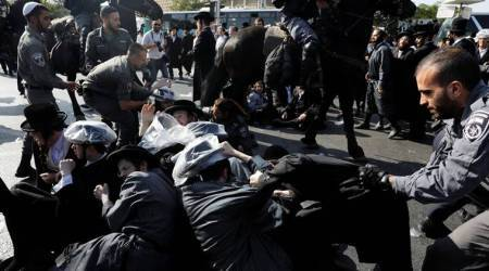 Ultra-Orthodox Israelis protest against mandatory army draft law