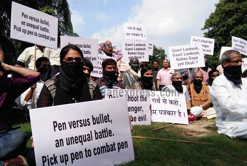 gauri lankesh, gauri lankesh murder, gauri lankesh shot, gauri lankesh killed, journalist killed, gauri lankesh protests, gauri lankesh death, gauri lankesh patrike, journalist murder, latest news, indian express