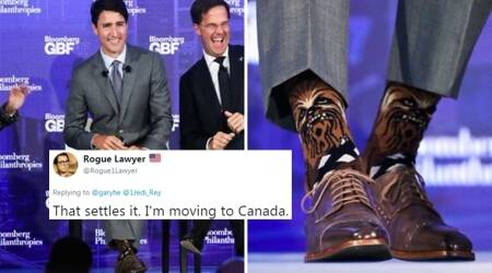 justin trudeau, canadian prime minister, justin trudeau socks, twitter reactions, indian express, indian express news