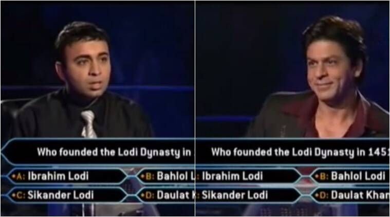 shah rukh khan, kbc, kaun banega crorepati hilarious video, kaun banega crorepati hilarious video viral, kaun banega crorepati video viral, kaun banega crorepati lodi dynasty hilarious question, funny viral videos, funny videos viral, indian express, indian express news