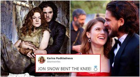 game of thrones, kit harington, rose leslie, kit harington rose leslie engaged, jon snow, jon snow engaged, game of throne fan club, game of throne jon snow, king in the north, Jon and Ygritte, Jon and Ygritte engaged, celebrity romance, Indian express, Indian express news