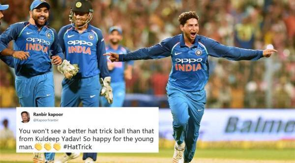 Kuldeep Yadav, Kuldeep Yadav hat-trick, India vs Australia, ind vs aus, kuldeep hattrick, kuldeep yadav hat trick video, kuldeep hat trick record, indian express, sports news