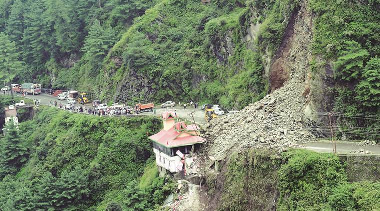 Landslide in Shimla sweeps away cars, luckily no one gets hurt