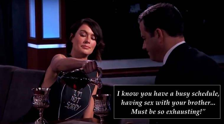 lena headey, cersei lannister, game of thrones, jimmy kimmel, jimmy kimmel live, game of thrones insult war, lena headey jimmy kimmel video, indian express, indian express news