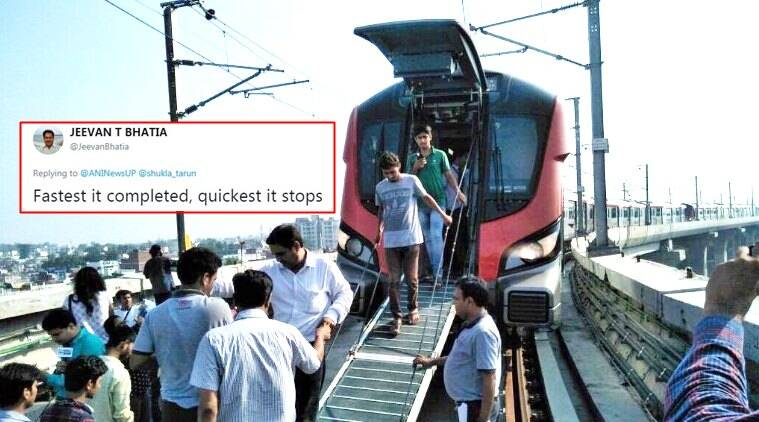 lucknow metro, lucknow metro breaks down, lucknow metro breaks down twitter reactions, yogi adityanath, akhilesh yadav,