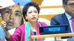 pakistan, sushma swaraj, united nations, pakistan un speech, Maleeha Lodhi, Maleeha Lodhi mistake, gaza photo at united nations, kashmir, pellet guns, pakistan news