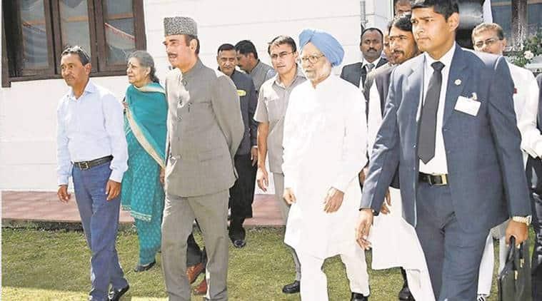 Manmohan Singh, Ghulam Nabi Azad, Ambika Soni, Srinagar, PDP, India News, Indian Express, Indian Express News