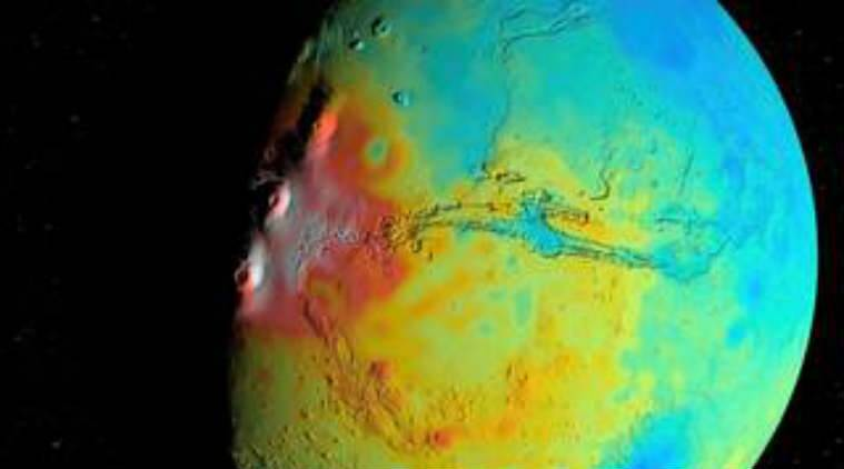 Mars, NASA, Mars crust density, Mars surface mapping, NASA Goddard Space Agency, Martian crust, Gravity Recovery and Interior Laboratory, Mars gravity map, average Martian crust density, Martian volcanoes