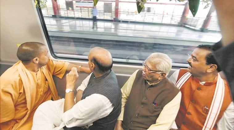 Lucknow metro, Yogi Adiityanath, Rajnath Singh, UP Politics, UP, India news, Indian Express