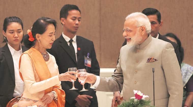 Pm modi, modi in myanmar, modi myanmar visit, Aung San Suu Kyi, modi rohingya refugees, indian express news