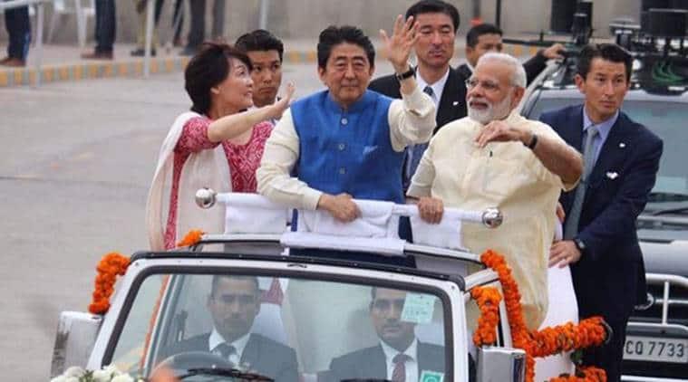 shinzo abe, shinzo abe gujarat, shinzo abe in india, shinzo abe india visit, bullet train, narendra modi, modi in gujarat, China, India News, Indian Express, Indian Express News