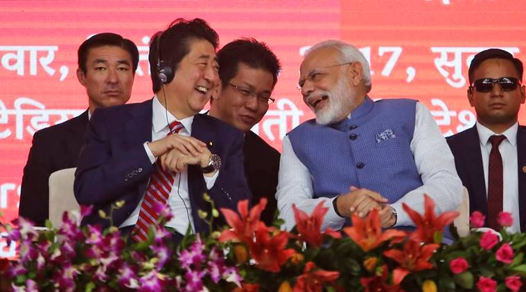 Shinzo Abe, Narendra Modi, Bullet Train, Bullet train launch, bullet train india, japan, india, modi speech, india news, bullet train launch news, latest news, live updates modi gujarat shinzo abe