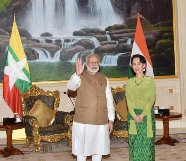 Narendra modi, PM Modi in myanmar, modi aung photos, modi myanmar photos, modi myanmar visit, Aung San Suu Kyi, Myanmar's State Counsellor, indian express, latest photos