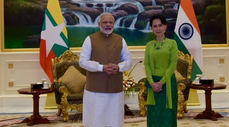 narendra modi, aung san suu kyi, india, myanmar, latest news,