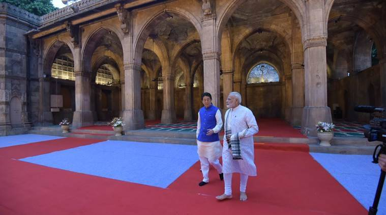 shinzo abe, narendra modi, india japan, modi abe meeting, sidi sayyid mosque, india news, india japan bilateral ties, indian express