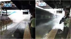 mumbai, mubai rains, mumbai floods, mumbai local, mumbai train service rains, mubai rain train service, mumbai train water wave, water wave train video, viral videos, indian express