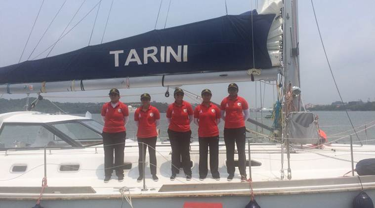 Nirmala Sitharaman, navy women crew, Navika Sagar Parikrama, Navika Sagar Parikrama all-women crew, Defence Minister, Panaji, india news, indian express news