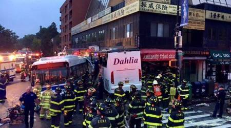 Charter bus barrels into New York city bus, killing 3 and injuring 16