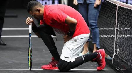 Nick Kyrgios denies kneeling in protest against US President Donald Trump