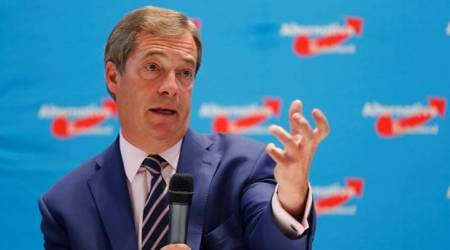 Britain's Nigel Farage talks Brexit at German right-wing election rally