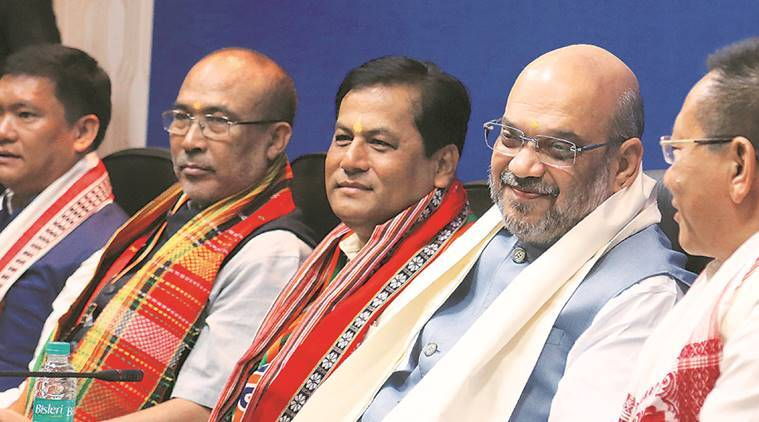 Amit Shah, Sarbananda Sonowal, BJP, Assam, North East strategy, India news, NEDA, Indian Express