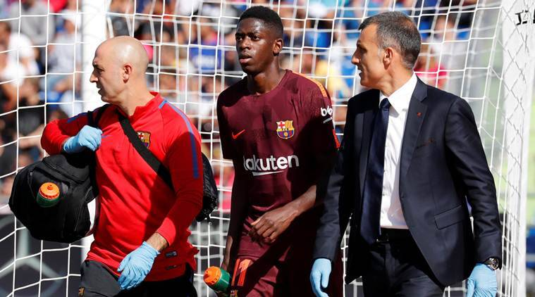 Barcelona's Ousmane Dembele tears tendon, out 3-4 months