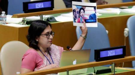 Day after Pak goof-up at UN, Indian envoy displays 'true picture': photo of Armyman killed in J&K