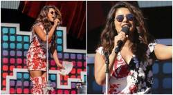 priyanka chopra, priyanka chopra at global citizen festival, priyanka chopra matching floral dress and shoes, celeb fashion, indian express, indian express news