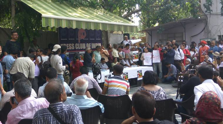 gauri lankesh, gauri lankesh killing, gauri lankesh protests, press club of india, journalists killed, gauri lankesh protest march