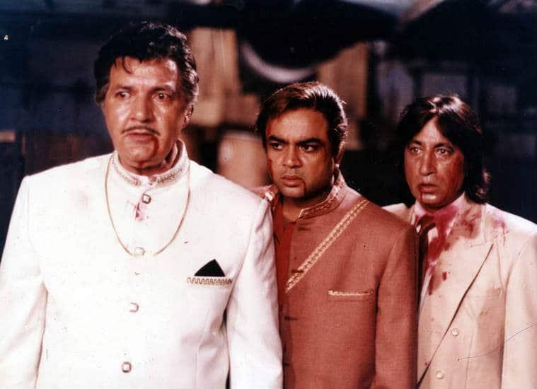 Film star Prem Chopra, Paresh Rawal and , Shakti Kapoor in film LAADLA