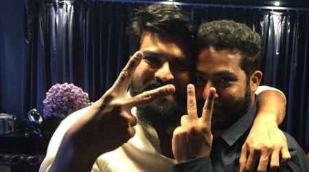 Ram Charan 'loved' Jai Lava Kusa, celebrates Dussehra with Jr NTR. See photos