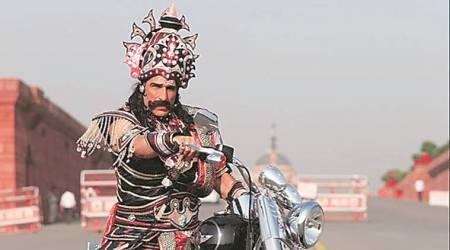 A Rs 100 challan for Ravana for driving without a helmet